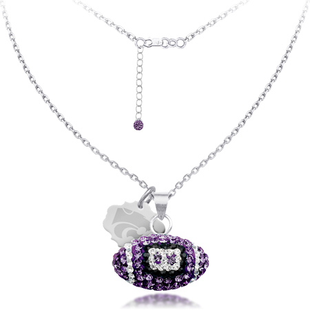 Sterling Silver Kansas State Wildcats Crystal Football Necklace