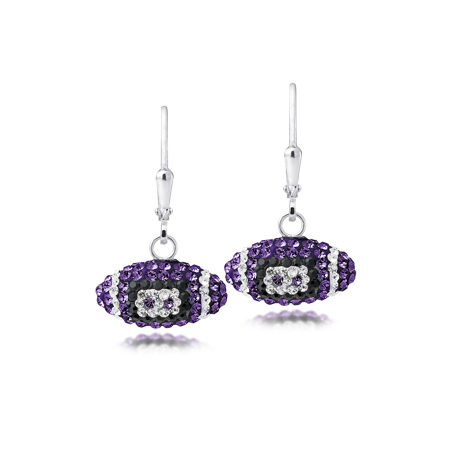 Sterling Silver Kansas State Wildcats Crystal Football Earrings