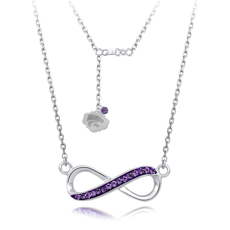 Sterling Silver Kansas State Wildcats Crystal Infinity Necklace