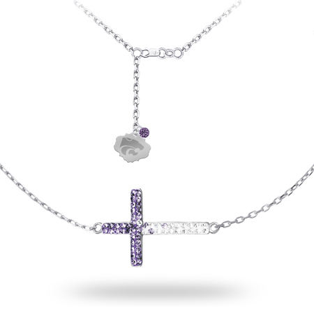 Sterling Silver Kansas State Wildcats Crystal Cross Necklace