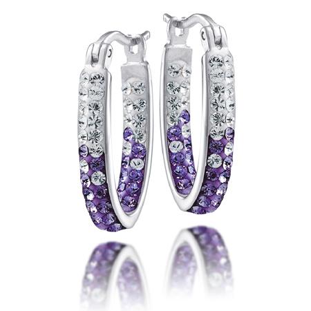 Sterling Silver Kansas State Wildcats Crystal Hoop Earrings