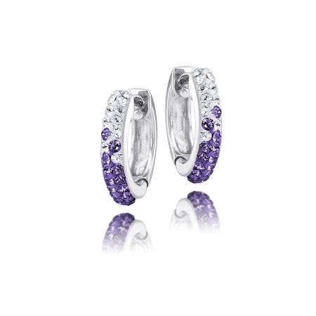 Sterling Silver Kansas State Wildcats Crystal Huggie Earrings