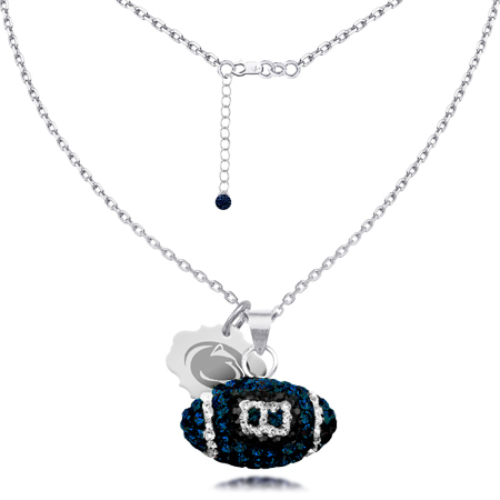 Sterling Silver Penn State Crystal Football Necklace
