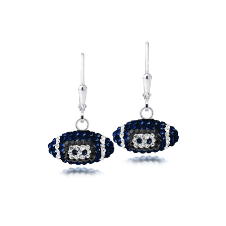 Sterling Silver Penn State Crystal Football Earrings