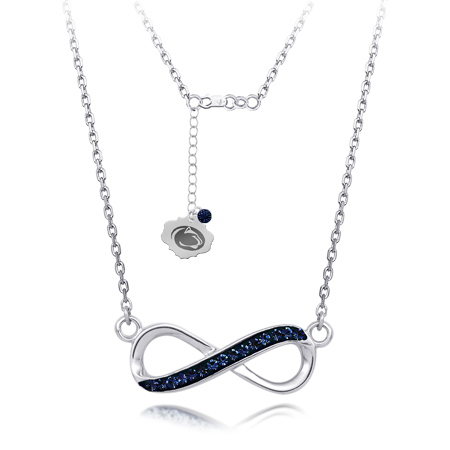 Sterling Silver Penn State Crystal Infinity Necklace