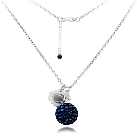 Sterling Silver Penn State Crystal Ball Necklace