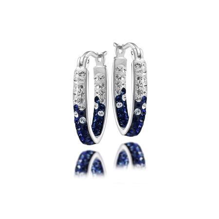 Sterling Silver Penn State Crystal Hoop Earrings