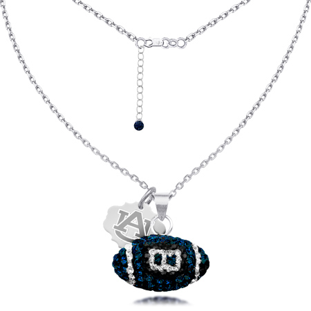 Sterling Silver Auburn Tigers Crystal Football Necklace