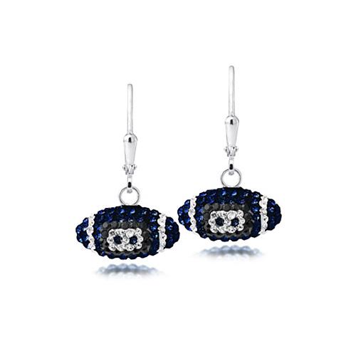 Sterling Silver Auburn Tigers Crystal Football Earrings