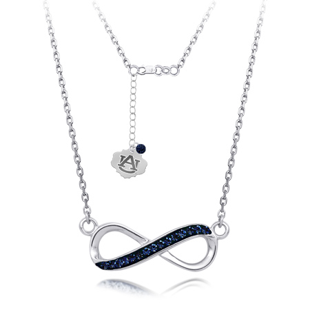 Sterling Silver Auburn Tigers Crystal Infinity Necklace