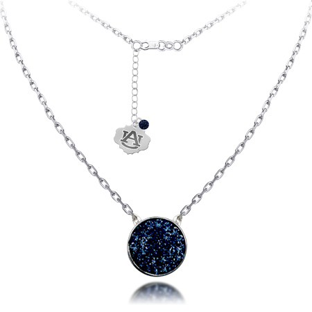 Sterling Silver Auburn Tigers Crystal Disc Necklace