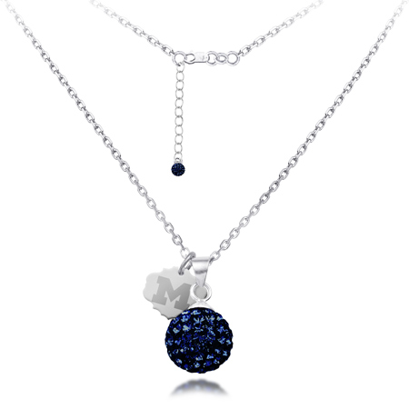 Sterling Silver Michigan Wolverines Crystal Ball Necklace