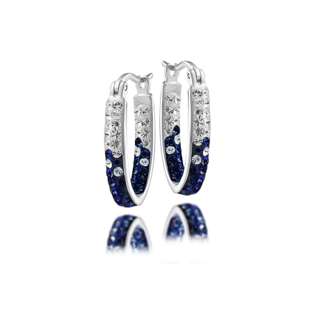 Sterling Silver Michigan Wolverines Crystal Hoop Earrings