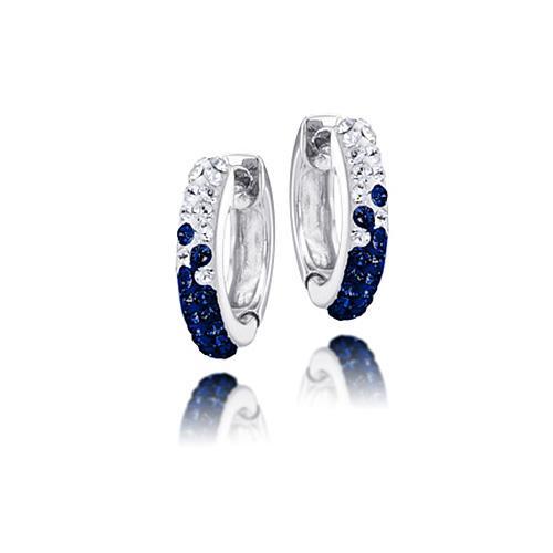Sterling Silver Michigan Wolverines Crystal Huggie Earrings