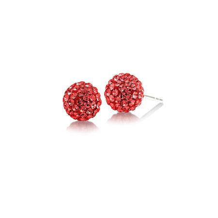 Sterling Silver Arkansas Razorbacks Crystal Ball Earrings