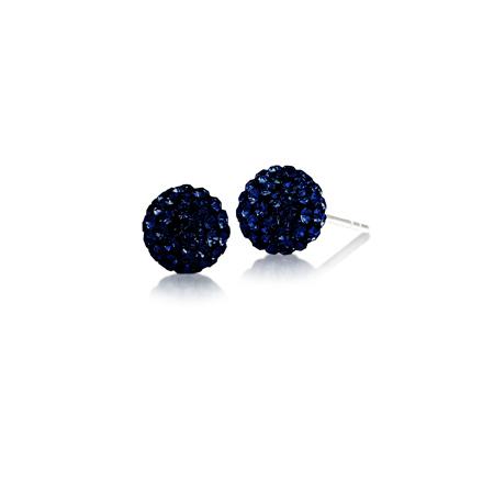 Sterling Silver Penn State Crystal Ball Earrings