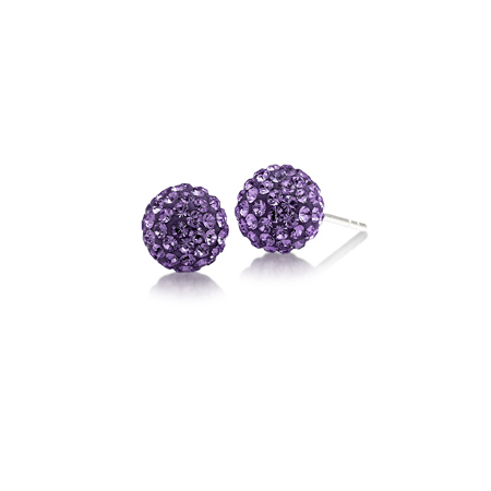 Sterling Silver Kansas State Wildcats Crystal Ball Earrings