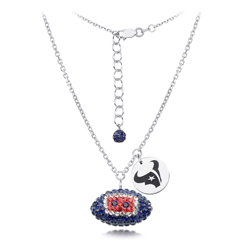 Sterling Silver Houston Texans Crystal Football Necklace