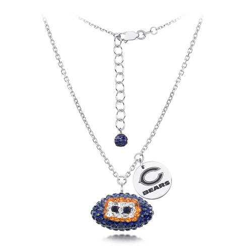 Sterling Silver Chicago Bears Crystal Football Necklace