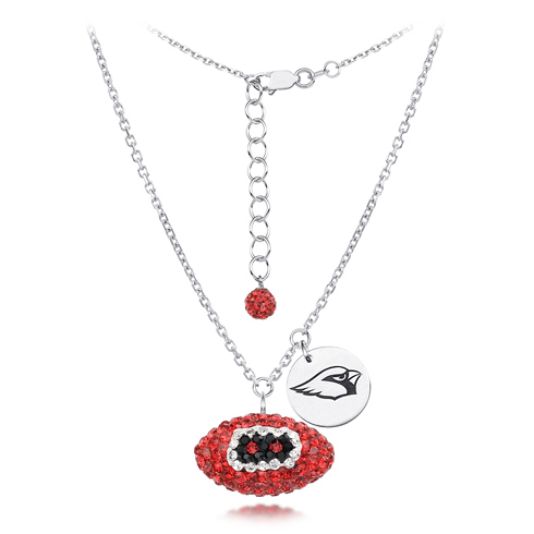 Sterling Silver Arizona Cardinals Crystal Football Necklace