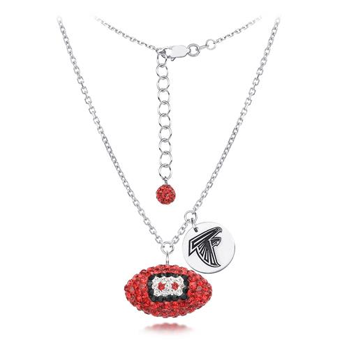 Sterling Silver Atlanta Falcons Crystal Football Necklace