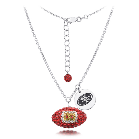 Sterling Silver San Francisco 49ers Crystal Football Necklace
