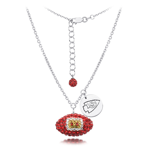 Sterling Silver Kansas City Chiefs Crystal Football Necklace