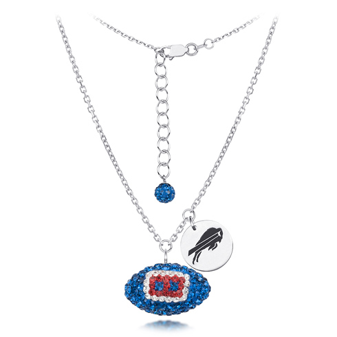 Sterling Silver Bufallo Bills Crystal Football Necklace