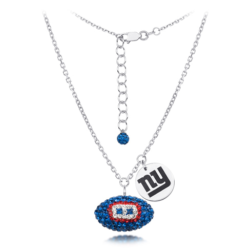 Sterling Silver New York Giants Crystal Football Necklace