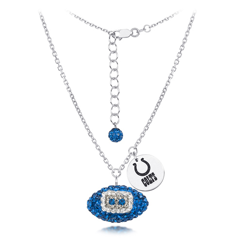 Sterling Silver Indianapolis Colts Crystal Football Necklace