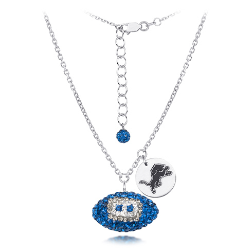 Sterling Silver Detroit Lions Crystal Football Necklace