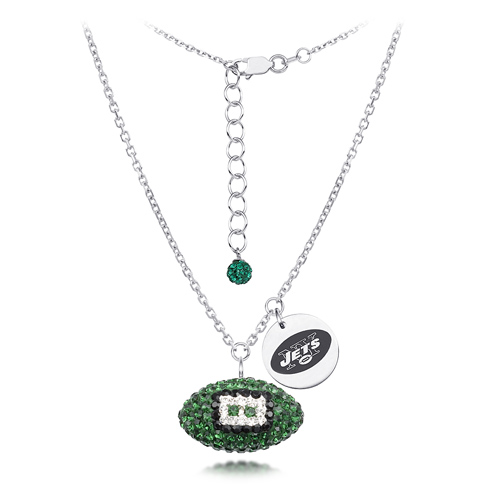 Sterling Silver New York Jets Crystal Football Necklace