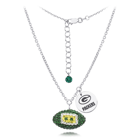 Sterling Silver Green Bay Packers Crystal Football Necklace
