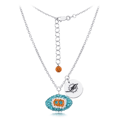 Sterling Silver Miami Dolphins Crystal Football Necklace