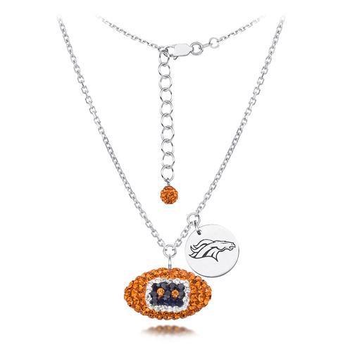 Sterling Silver Denver Broncos Crystal Football Necklace