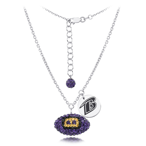 Sterling Silver Baltimore Ravens Crystal Football Necklace