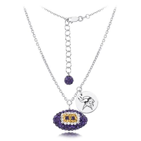Sterling Silver Minnesota Vikings Crystal Football Necklace