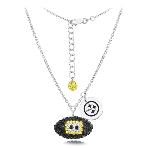 Sterling Silver Pittsburgh Steelers Crystal Football Necklace