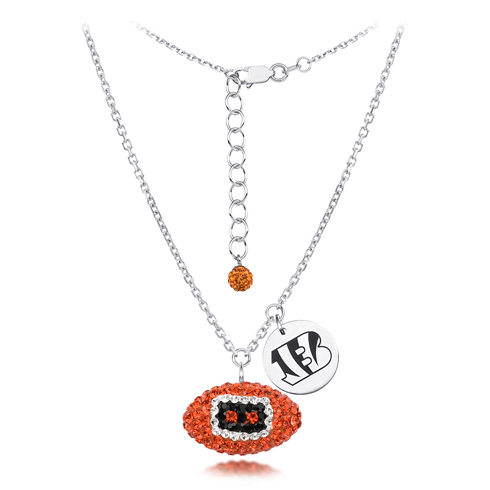 Sterling Silver Cincinnati Bengals Crystal Football Necklace