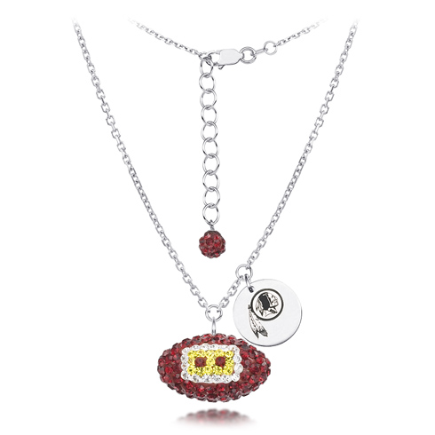 Sterling Silver Washington Redskins Crystal Football Necklace
