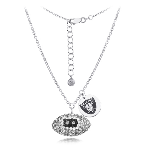 Sterling Silver Oakland Raiders Crystal Football Necklace