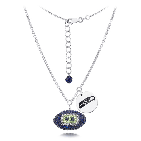 Sterling Silver Seattle Seahawks Crystal Football Necklace