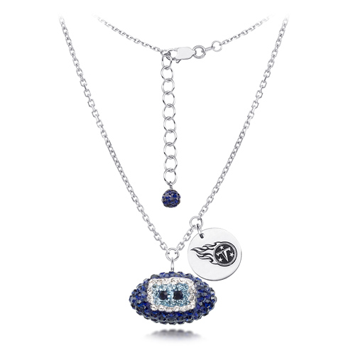 Sterling Silver Tennessee Titans Crystal Football Necklace