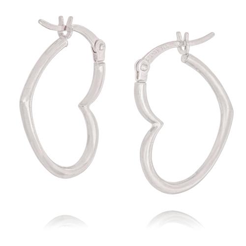 14kt White Gold 3/4in Heart Hoop Earrings