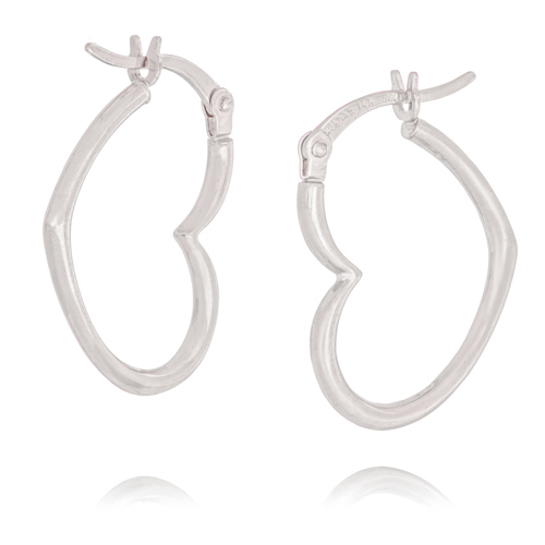 14kt White Gold 3/4in Heart Hoop Earrings