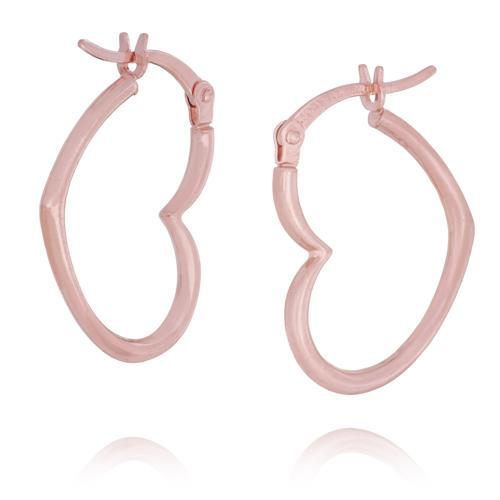14kt Rose Gold 3/4in Heart Hoop Earrings
