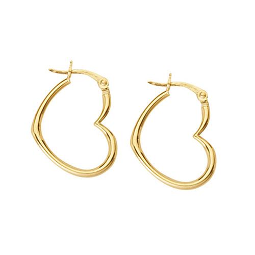 14kt Yellow Gold 3/4in Heart Hoop Earrings
