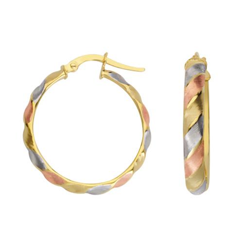 14kt Tri-color Gold 7/8in Ribbed Hoop Earrings