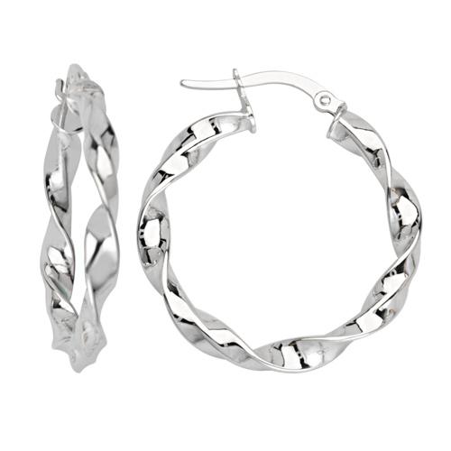 14kt White Gold 3/4in Fancy Twist Hoop Earrings 3mm