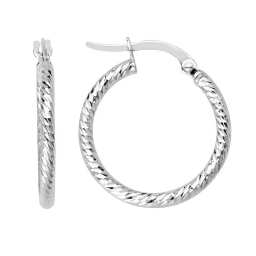 14kt White Gold 5/8in Diamond-cut Tube Hoop Earrings